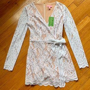 Lilly Pulitzer Tiki Wrap Romper White Lace